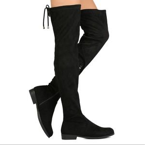 Black Over the Knee flat boot OTK